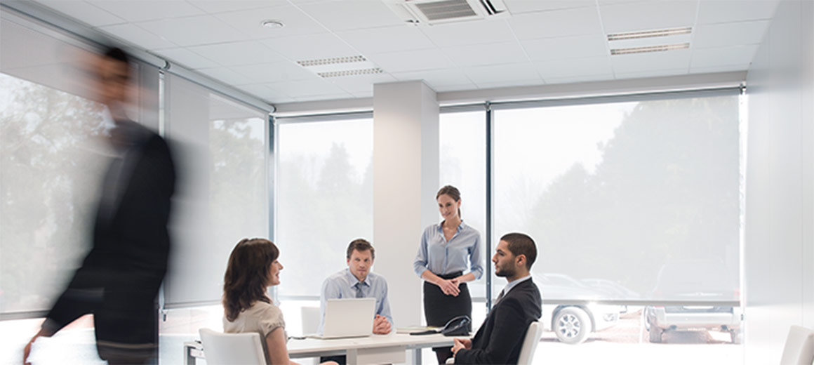 A group office meeting