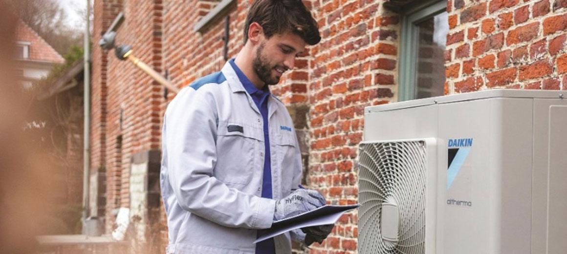 Engineer checking installation