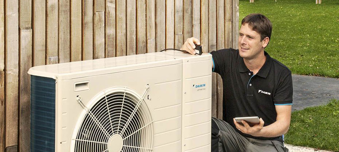 Air conditioning equipment being maintained